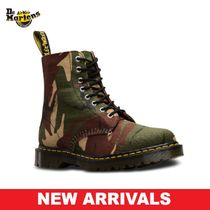 Dr Martens Camouflage Lace-up Casual Style Blended Fabrics Street Style