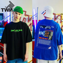 TWN Crew Neck Pullovers Unisex Street Style Cotton Short Sleeves