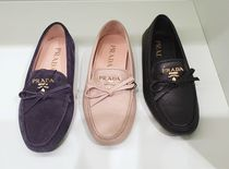 PRADA Moccasin Round Toe Casual Style Plain Leather Flats