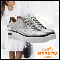HERMES Casual Style Street Style Plain Leather Low-Top Sneakers