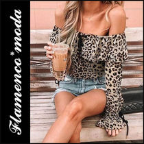 Leopard Patterns Casual Style Bandeau & Off the Shoulder