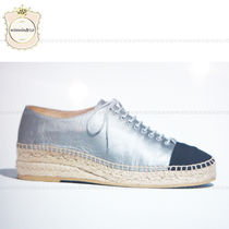 CHANEL Platform Round Toe Casual Style Leather Espadrille Shoes