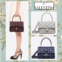 VALENTINO Casual Style Blended Fabrics Studded 2WAY Plain Handbags