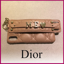 Christian Dior LADY DIOR Plain Leather Smart Phone Cases