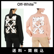 Off-White Crew Neck Flower Patterns Street Style Long Sleeves Cotton