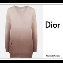Christian Dior Casual Style Cashmere V-Neck Long Sleeves Plain Long