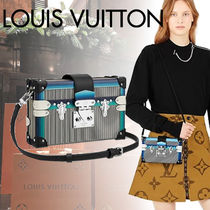 Louis Vuitton PETITE MALLE Stripes Blended Fabrics Street Style 3WAY Leather