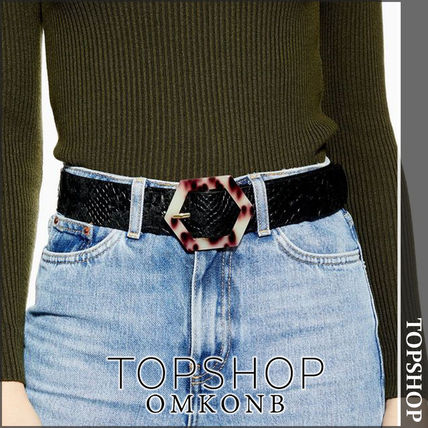Casual Style Leather Python Belts