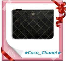 CHANEL MATELASSE Unisex Studded Leather Clutches