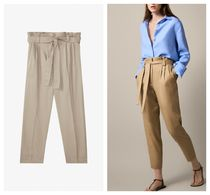Massimo Dutti Linen Plain Long Office Style Cropped & Capris Pants