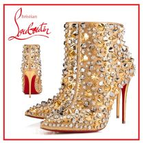 Christian Louboutin Blended Fabrics Studded Leather Pin Heels Party Style