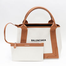 BALENCIAGA CABAS Casual Style Unisex Canvas A4 2WAY Bi-color Handmade Totes