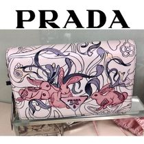 PRADA Flower Patterns Chain Other Animal Patterns Leather