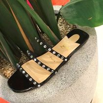 f1951f11689 Christian Louboutin Open Toe Enamel Plain With Jewels Elegant Style Sandals