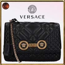 VERSACE Casual Style Calfskin Chain Shoulder Bags