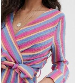 Stripes Casual Style V-Neck Long Sleeves Medium Dresses