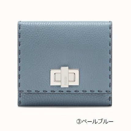 FENDI Folding Wallets Plain Leather Folding Wallets 8