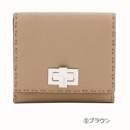 FENDI Folding Wallets Plain Leather Folding Wallets 14
