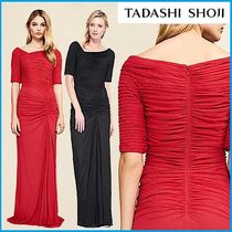 TADASHI SHOJI Tight Plain Long Short Sleeves Dresses