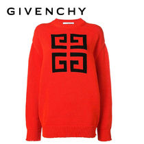 GIVENCHY Crew Neck Casual Style Long Sleeves Plain Cotton Sweaters