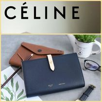 CELINE Strap Unisex Calfskin Bi-color Plain Folding Wallets