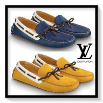 Louis Vuitton Loafers Suede Blended Fabrics Plain Loafers & Slip-ons