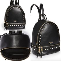 Guess Casual Style Faux Fur Studded Plain Backpacks