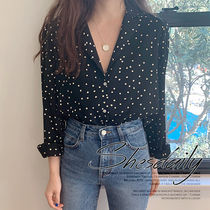 Dots Casual Style Long Sleeves Medium Shirts & Blouses