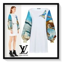Louis Vuitton Short A-line Blended Fabrics Boat Neck Bi-color Long Sleeves