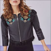 Uterque Short Leather With Jewels Biker Jackets