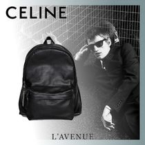 CELINE Unisex Calfskin Street Style Chain Plain Backpacks