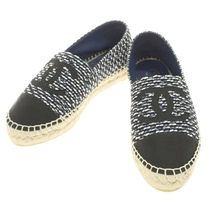 CHANEL Platform Round Toe Casual Style Tweed Lace-Up Shoes
