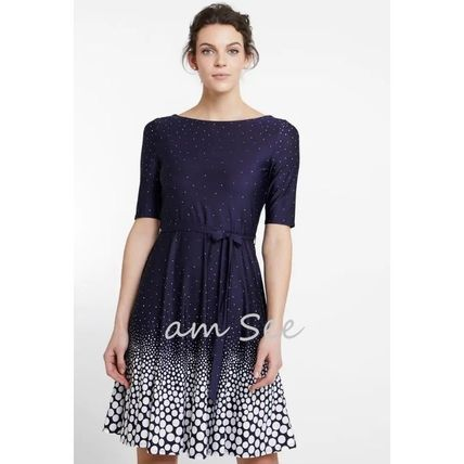 Dots Flared Boat Neck Medium Short Sleeves Party Style