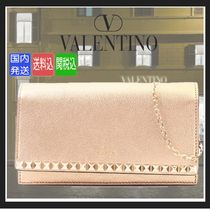 VALENTINO Chain Leather Elegant Style Clutches