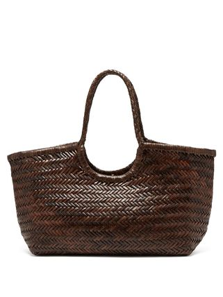 Blended Fabrics A4 Plain Leather Straw Bags
