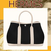 HERMES Garden Party Casual Style Blended Fabrics Bi-color Plain Totes