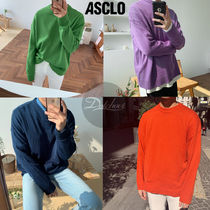 ASCLO Crew Neck Long Sleeves Plain Knits & Sweaters