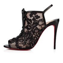 Christian Louboutin Flower Patterns Open Toe Casual Style Leather Pin Heels