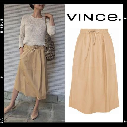 Plain Leather Medium Midi Elegant Style Midi Skirts