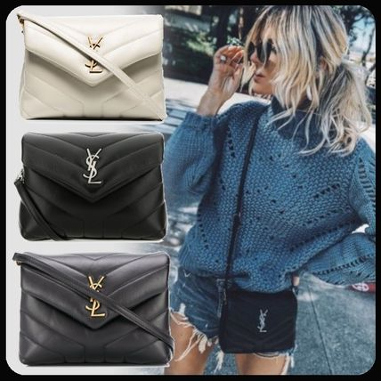 Saint Laurent LOULOU Casual Style Leather Crossbody Logo Shoulder Bags