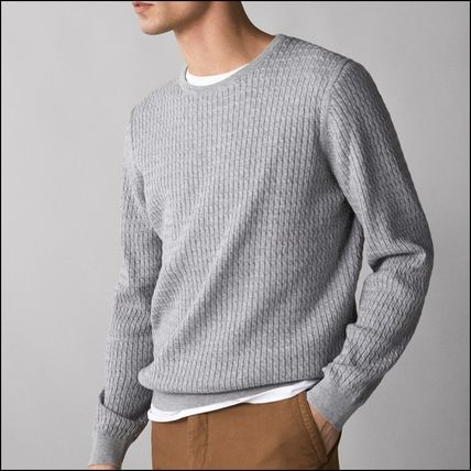 Crew Neck Cable Knit Long Sleeves Plain Cotton