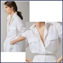 Massimo Dutti Casual Style Long Sleeves Plain Cotton Shirts & Blouses