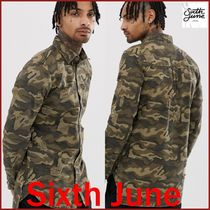 Sixth June Camouflage Street Style Long Sleeves Cotton Oversized Shirts
