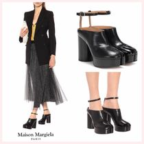 Maison Martin Margiela Round Toe Casual Style Plain Leather Block Heels