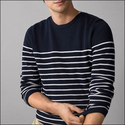 Crew Neck Stripes Long Sleeves Cotton Knits & Sweaters