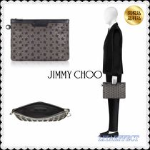 Jimmy Choo Star Unisex Blended Fabrics Leather Clutches