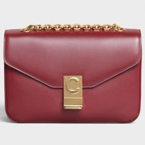 CELINE Calfskin 2WAY Chain Plain Elegant Style Bold Shoulder Bags