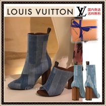 Louis Vuitton Casual Style Leather Block Heels Ankle & Booties Boots
