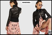 DIESEL Street Style Plain Leather Medium Biker Jackets