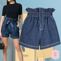 FENDI Short Casual Style Denim Plain Denim & Cotton Shorts